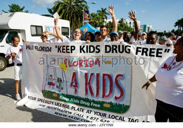 Miami Beach Florida AIDS Walk Miami Care Resource run HIV epidemic community resource benefit fundraiser student - Stock Image