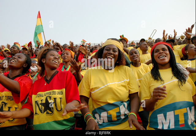 Ghanian supporters celebrate The African cup of Nations in their capital Accra. Ghana, West Africa, Africa - Stock Image
