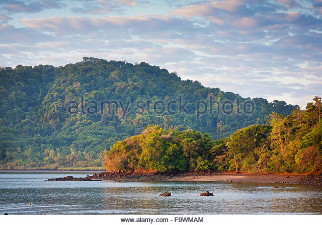 First light at Coiba island national park, Pacific coast, Veraguas province, Republic of Panama. - Stock-Bilder