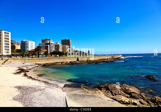 Cape Town looking towards Sea Point and the promenade South Africa. - Stock Image