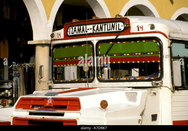 Yucatan Mexico mx colorful bus - Stock Image