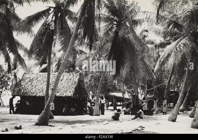 Bikini Islanders near thatched roof building shaded by palm trees, ca. March 1946. 167 islanders from 40 families - Stock-Bilder