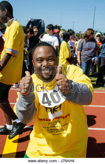 Miami Florida Liberty City Traz Powell Stadium Special Olympics Track and Field event mentally disabled challenged - Stock Image