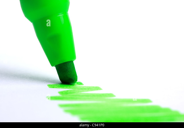 Green highlighter - Stock Image
