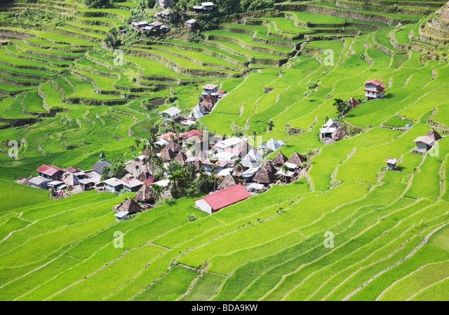 Rice terraces and Batad village Ifugao Province Northern Luzon Philippines - Stock Image