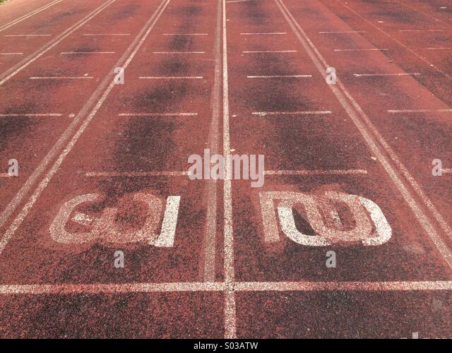 An athletics running track - Stock Image