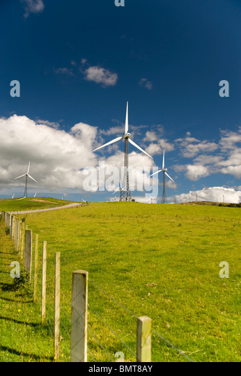 Palmerston North, New Zealand; Wind Turbines In A Field - Stock Image