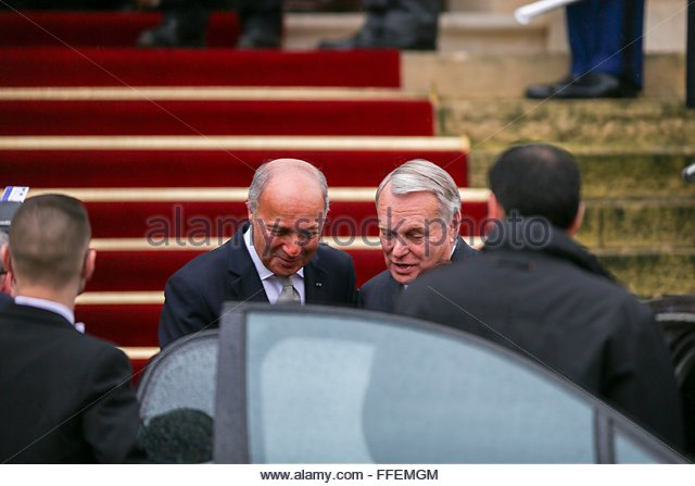 Paris, France. February 12nd, 2016. FRANCE, Paris: Newly appointed French Foreign Minister Jean-Marc Ayrault (R) - Stock Image