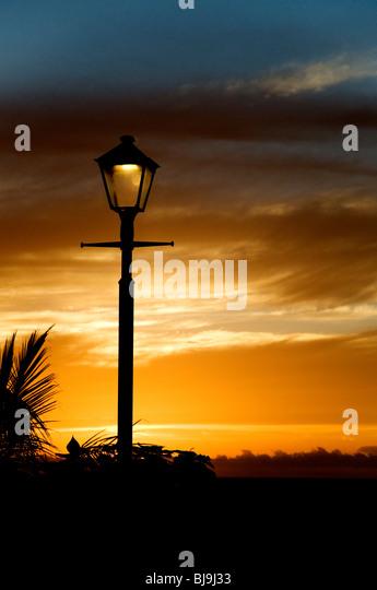 Silhouette of a street lamp - Stock-Bilder