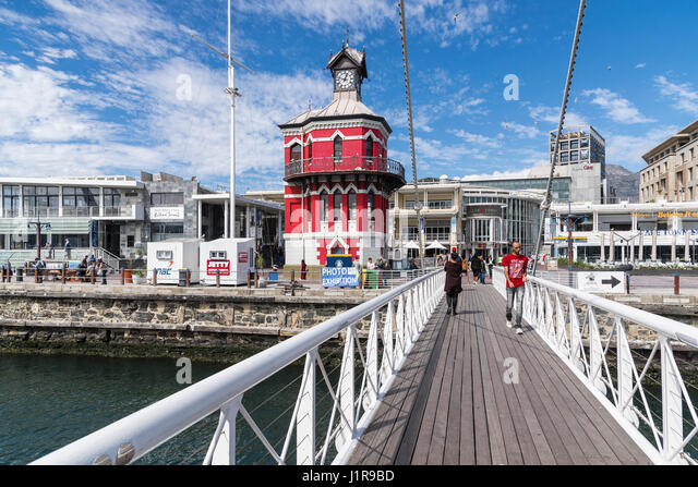 Clock Tower and Wrestling Bridge, Victoria and Alfred Waterfront, Cape Town, Western Cape, South Africa - Stock Image