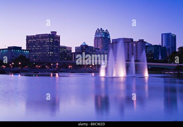 Fountain at Lake Lucerne, Orlando, Florida, USA - Stock Image