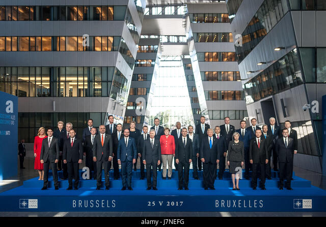 Brussels, Belgium. 25th May, 2017. Official photo in the New NATO building Credit: Julien Mattia/ZUMA Wire/Alamy - Stock Image
