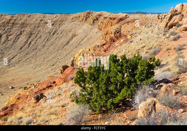 Meteor Crater is a meteorite impact crater. The site was formerly known as the Canyon Diablo Crater, Arizona, USA. - Stock Image