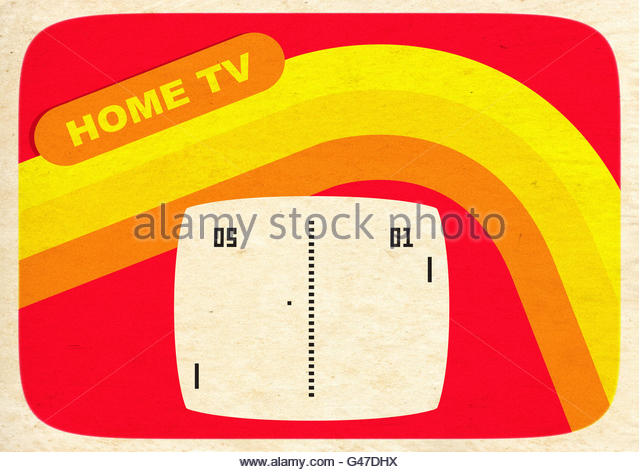 Kitsch retro TV console electronic tennis game aged illustration - Stock Image
