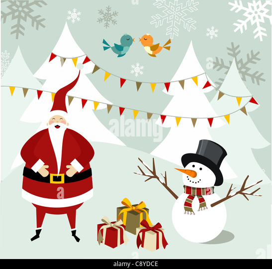 Santa Claus and snowman illustration celebrating Christmas with gifts in a snowy background. Vector file available. - Stock-Bilder