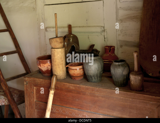 Photo of an empty room of a cozy country house - Stock Image