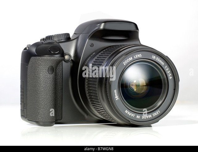 Black digital DSLR camera single lens reflex - Stock Image