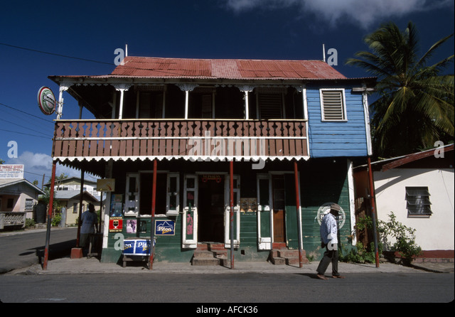 West Indies St. Lucia Gros Islet Dauphine Street business buildings residents - Stock Image