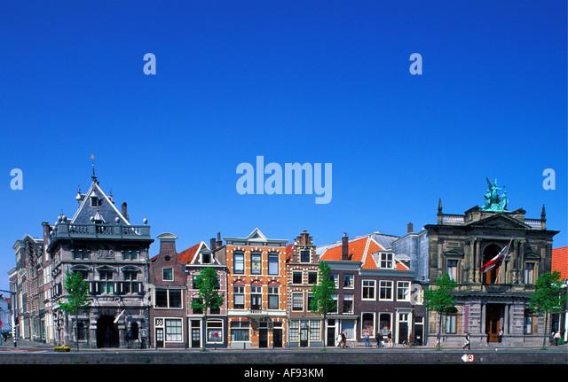 Netherlands Haarlem Houses along river called Spaarne - Stock-Bilder