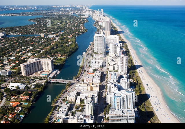 Aerial view of miami beach - Stock Image