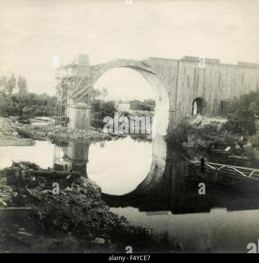 The railway bridge destroyed - Stock Image