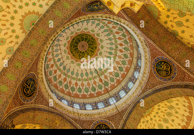 Yeni Cami or the New Mosque, Domes and cupolas, Istanbul Old city, Turkey - Stock Image