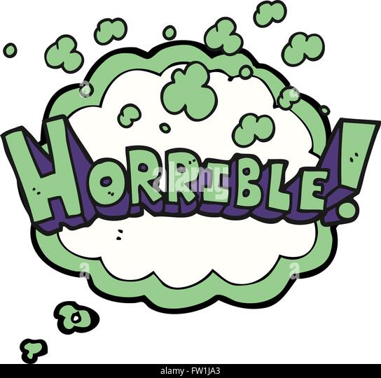 freehand drawn thought bubble cartoon word horrible - Stock Image