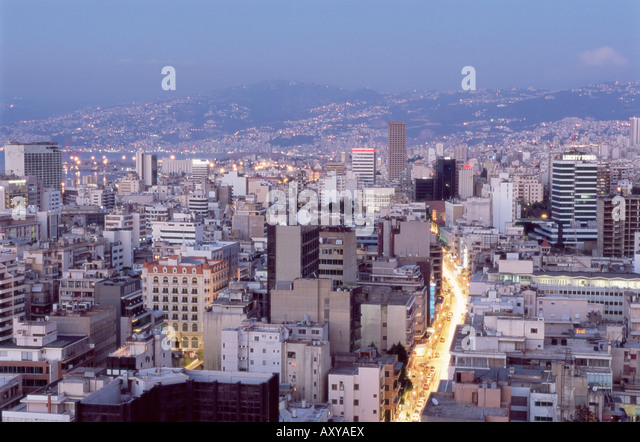 Elevated view towards the Central District (BCD) in the reconstructed city, Beirut, Lebanon, Middle East - Stock Image