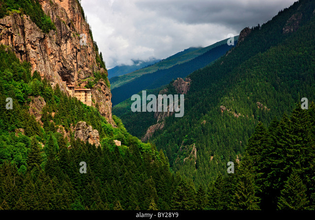 Sumela monastery one of the most impressive sights in the whole Black Sea region, in Altindere Valley, Trabzon province, - Stock-Bilder