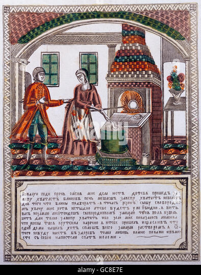 people, couples, the cavalier and the blintz baker, 'Please go away from me...', copper engraving, Russia, - Stock-Bilder