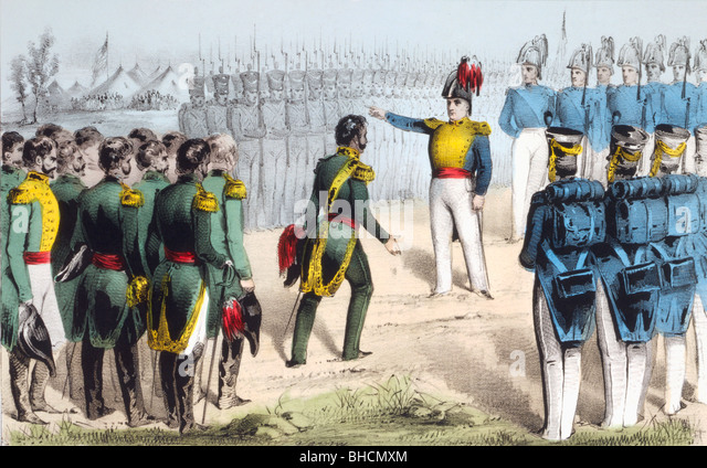 After the Battle of Monterrey Mexican General Pedro de Ampudia surrenders the city to American General Zachary Taylor - Stock-Bilder