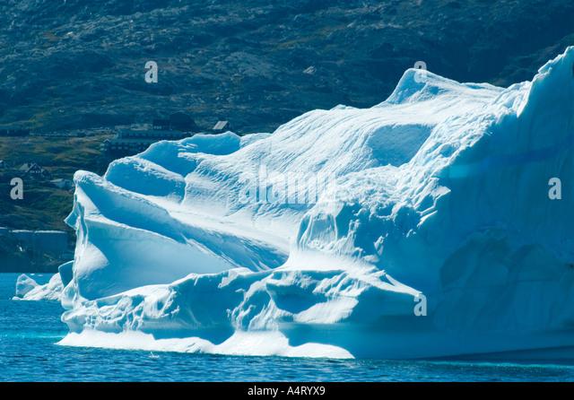 Detail from an iceberg, Kong Oscars Havn, Tasiilaq, Angmagssalik Island, Sermilik Fjord, East Greenland - Stock Image