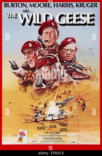 THE WILD GEESE, US poster art, clockwise from left: Richard Harris, Roger Moore, Hardy Kruger, Richard Burton, 1978, - Stock Image