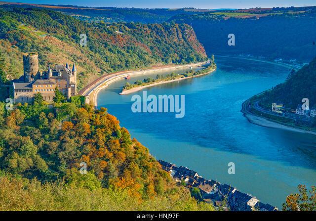 Katz Castle,  Rhine River, Germany , Rhineland Region. 13th Century Castle Upper Middle Rhine Valley UNESCO World - Stock-Bilder