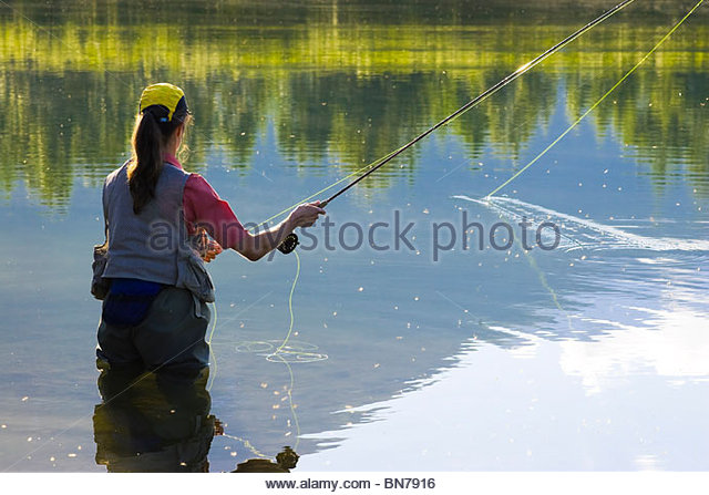 Angler flyfishing for Rainbow Trout in Portage Valley in early morning, Alaska - Stock Image