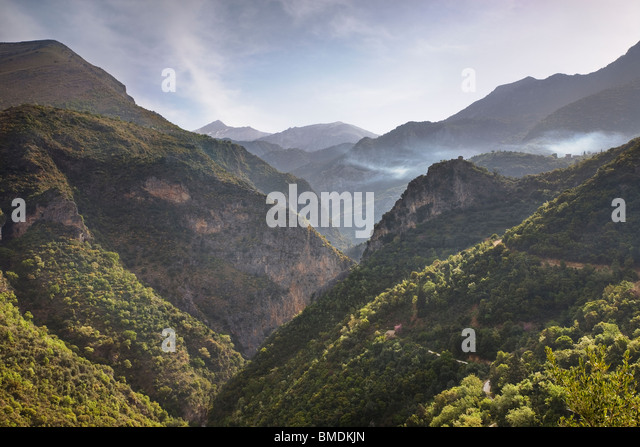 View along the Viros Gorge in the Mani peninsula of the Peloponnese of Greece - Stock-Bilder