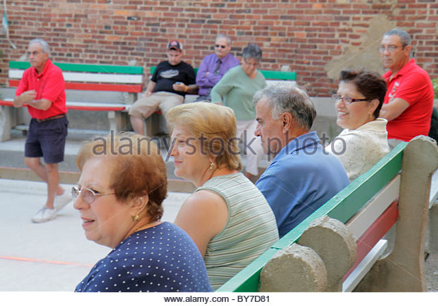 Baltimore Maryland Little Italy ethnic neighborhood community bocce ball court game sport player league man woman - Stock Image
