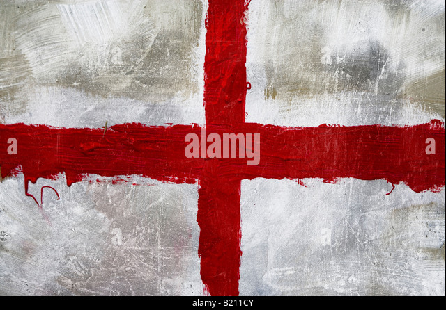 Abstract painting of St Georges flag (English flag) - Stock Image
