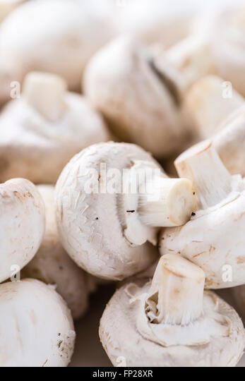 Portion of white Mushrooms for use as background image or as texture - Stock Image