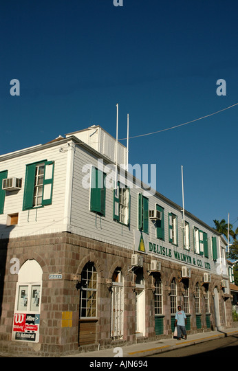 St Kitts West Indies Caribbean Basseterre Stores and Shops - Stock Image