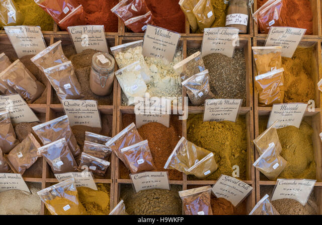 Spices, Market Stall, Vieux Nice, Cours Saleya,  Alpes Maritimes, Provence, French Riviera, Mediterranean, France, - Stock Image