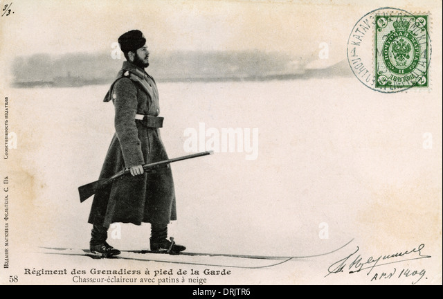 Russian Grenadier Guardsman on skis - Stock Image