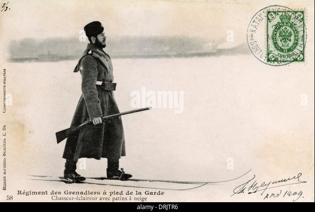 Russian Grenadier Guardsman on skis - Stock Image