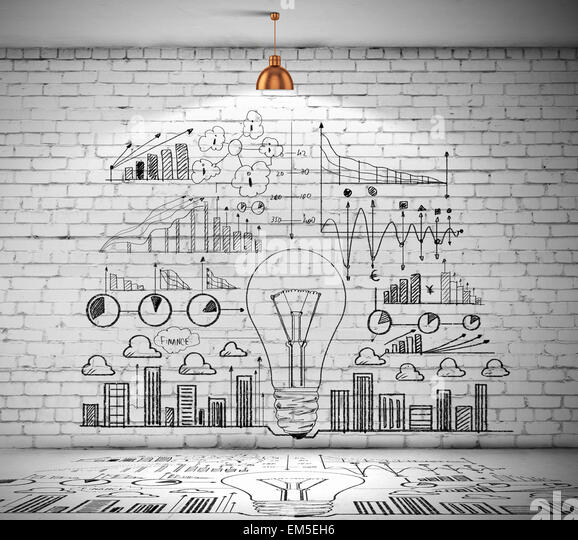 Business sketch on wall - Stock Image