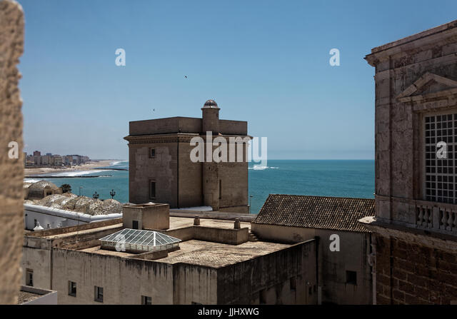 Aerial view of Torre del Sagrario, from Cadiz Cathedral (Catedral de Santa Cruz de Cádiz), Plaza Catedral, - Stock Image