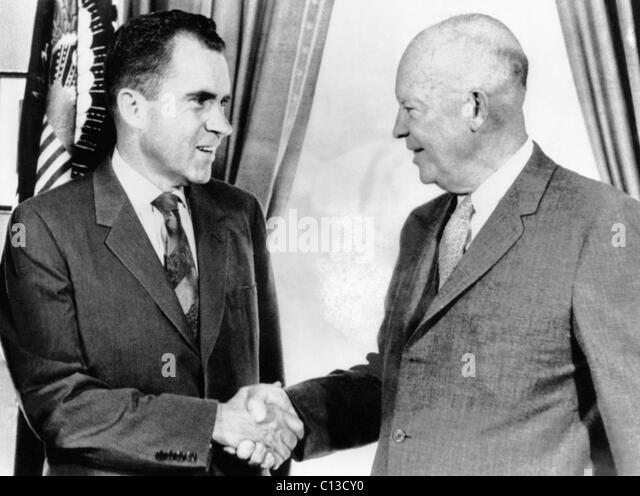 From left, Vice President Richard Nixon, President Dwight Eisenhower, before Nixon's trip to Russia, July 22, - Stock Image