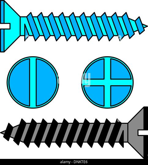 Stainless steel screw. Vector illustration. - Stock Image