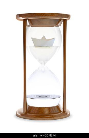 Paper ship inside a water-filled hourglass - 3d conceptual illustration - Stock-Bilder