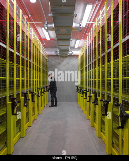 Interior view of film archive. Commerical stock portfolio (continued), na, United Kingdom. Architect: na, 2015. - Stock Image