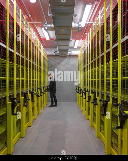 Interior view of film archive. Commerical stock portfolio (continued), na, United Kingdom. Architect: na, 2015. - Stock-Bilder